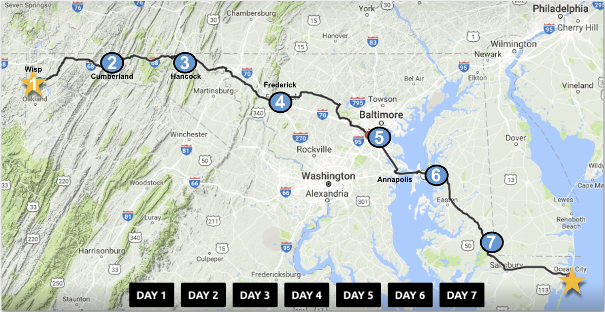 Maps 7.Maryland Trek Daily Interactive Route Maps Just In Weather