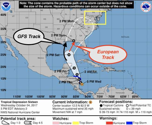 Tropical Depression Should Become TS Nate And Head Our Way - Current us weather map 5 2 2017