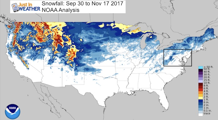 A Snowy Drought Image Of The Day February Snow Depth NOAA - Us snow cover map weather com