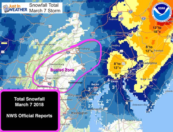 snow accumulation map maryland March 7 Snow Report With Updated Maps Just In Weather snow accumulation map maryland