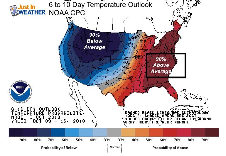 10 Day Us Temperature Map Warm October Temperature Outlook And What It Could Mean – Just In