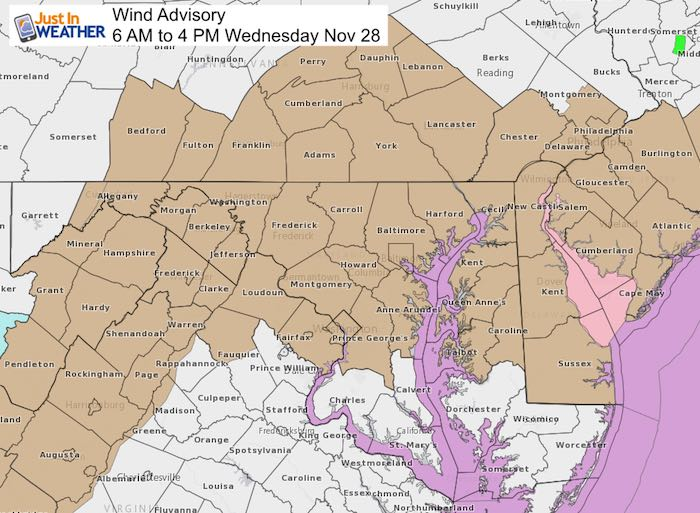 Wind Advisory Wednesday November 28 – Just In Weather