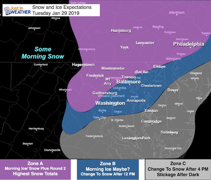 Snow and Ice On Tuesday: Tracking Two Rounds Of Wintry